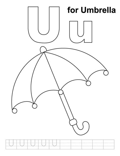 coloring pages for u u for umbrella coloring page with handwriting practice