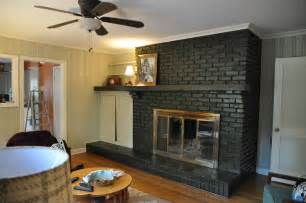 Wooden Floor Colour Ideas Enjoyable Brick Painted Fireplace With Floating Shelf As Mantel Added Mini Shade Ls Also