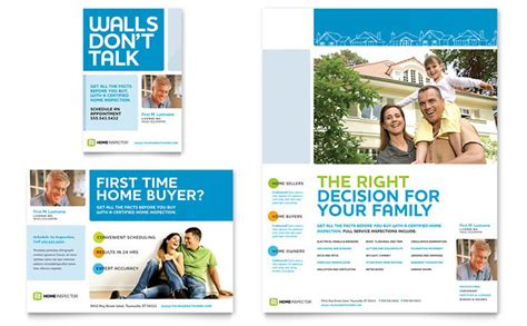 advertising brochure templates free home inspection inspector flyer ad template design