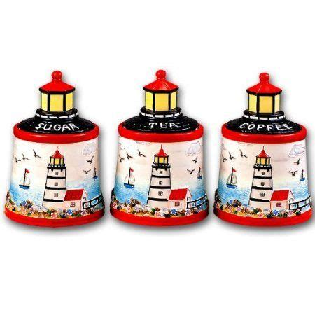 beach themed kitchen canisters lighthouse faro nautical ceramic kitchen storage jar 3 pc