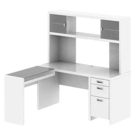 Small Desk Shelf White Corner Wooden Desk With Drawer And Printer Storage