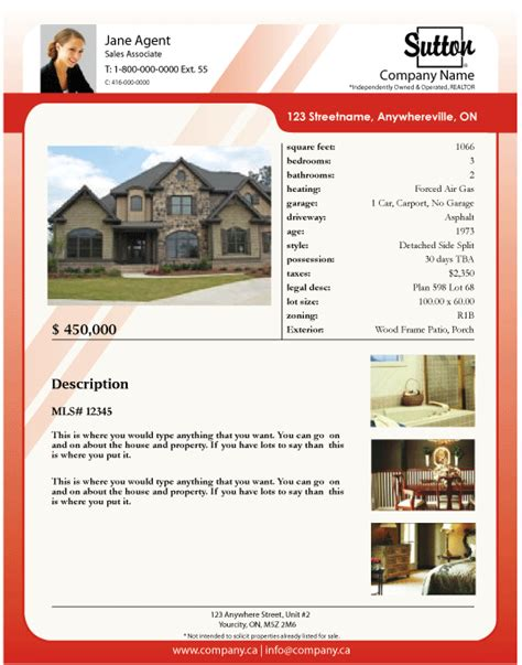 real estate property listing template printforlesscanada sutton listing feature