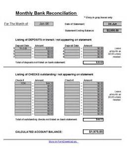 bank reconciliation templates free bank reconciliation spreadsheet pdf template form