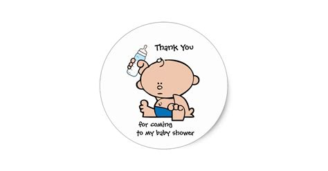 Thank You Note For Office Baby Shower by Thank You Boy Baby Shower Gift Tag Sticker Zazzle