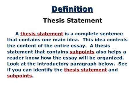 thesis statement thesis for response to literature