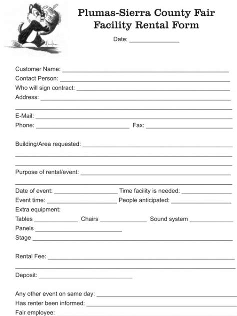 facilities rental agreement template facility rental form facility rental contract