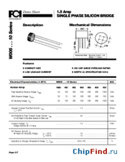 datasheet diode bridge w04 fci discrete diodes bridges general purpose diodes