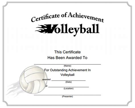 printable volleyball awards photo design of certificate of participation images