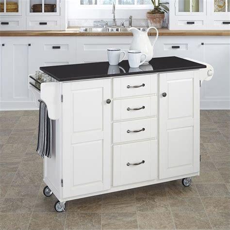 granite top kitchen cart  white