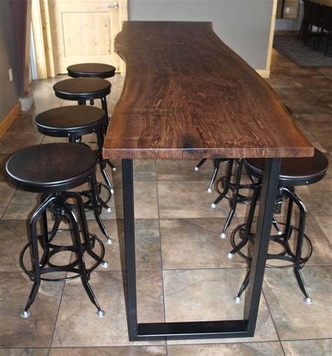 table top bar custom made live edge walnut bar height table citizen custom furnishings
