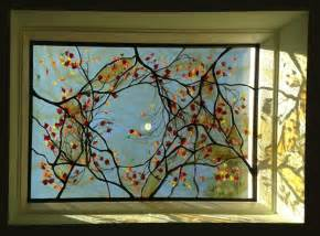 beveled glass door panels stained glass tree and moon skylight virginia
