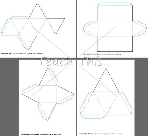printable 3d net shapes free 3d nets printable maths teacher resources charts