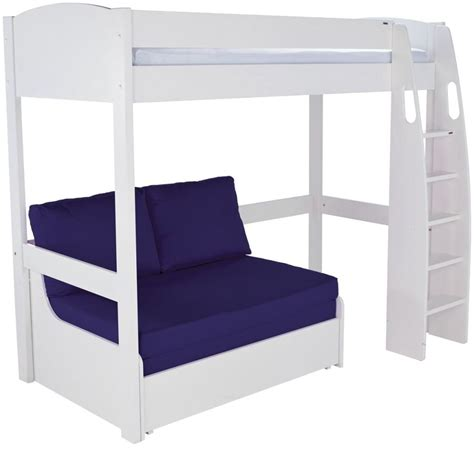 Sleepers Bed by Buy Stompa White High Sleeper Frame With Blue Sofa