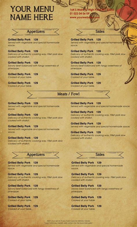 sle menu template menu template doc 28 images doc 626626 breakfast menu