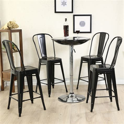 Bar Stools With Backs Set Of 4 by Deluxe Bar Stool Barstool Chair With High Back Rest Set