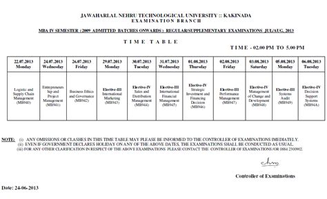 Jntuk Mba 3 Sem Results 2016 by Jntu Kakinada Mba 4th Semester Regular Supple Time Table