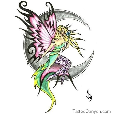 sitting fairy tattoo designs colored sitting on moon design