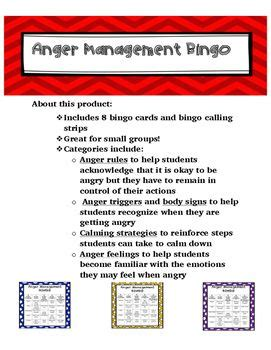 anger management bingo cards printable anger management bingo bingo cards bingo and anger