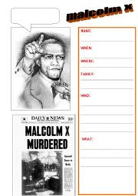 malcolm x biography in english english worksheets malcolm x bio