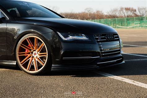audi a4 gold wheels sinister black audi rs7 with gold vossen wheels looks