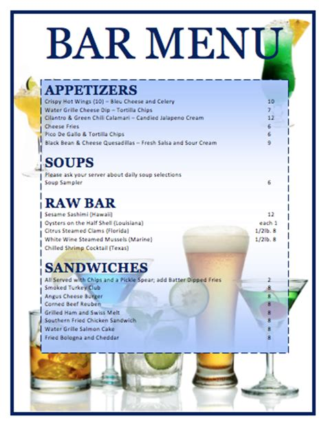 bar food menu templates menu templates microsoft word templates
