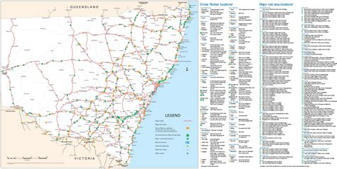 map of nsw australia new south wales rest area map
