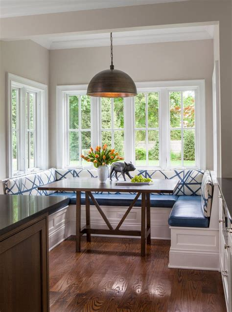 eat  kitchen nook window seating blue booth style