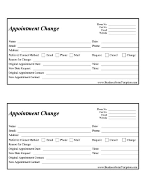 Appointment Change Form Template Doctor Visit Form Template