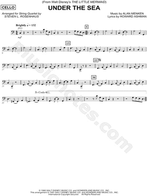 printable lyrics to under the sea quot under the sea cello string quartet quot from the little