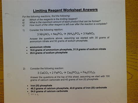 Limiting And Excess Reactants Worksheet Answers by Uncategorized Limiting Reagent Worksheet Answers