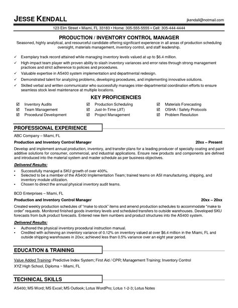 sle resume for production manager resume sle for production manager 100 images