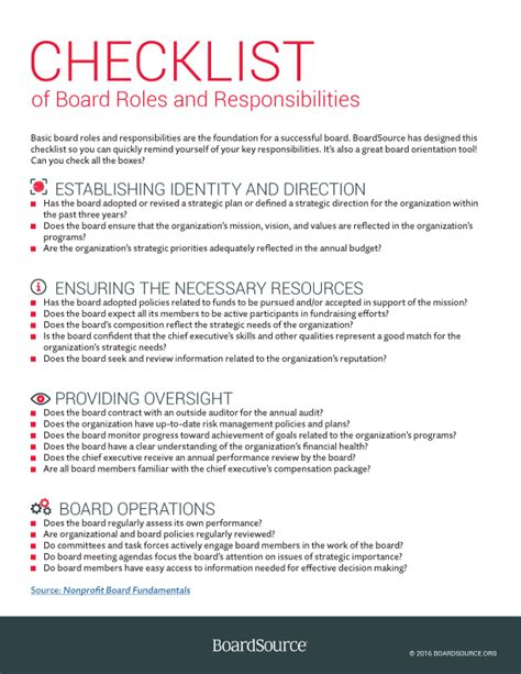 Board Roles And Responsibilities Template Roles And Responsibilities Boardsource