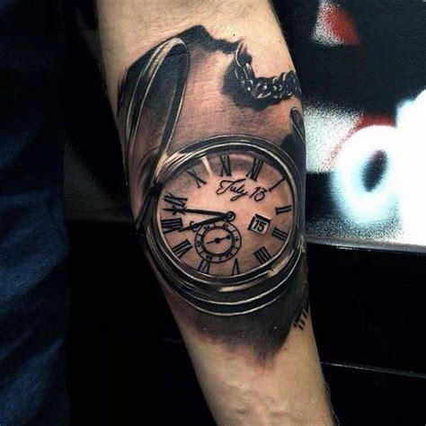 quarter sleeve clock tattoo mens badass realistic pocket watch forearm quarter tattoo