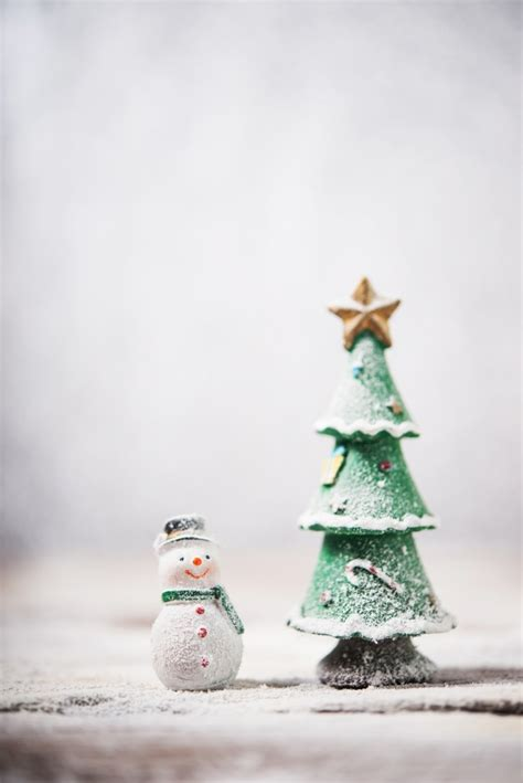 snowman next to a christmas tree photo free download