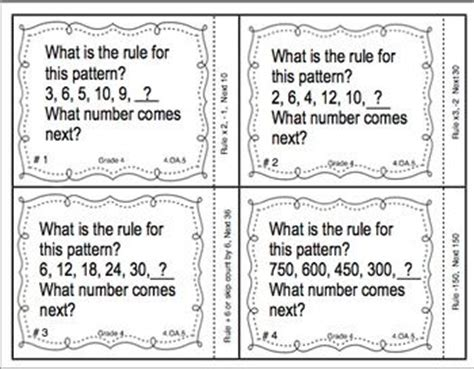 variables in pattern rules math pattern rules grade 5 free printable pattern games