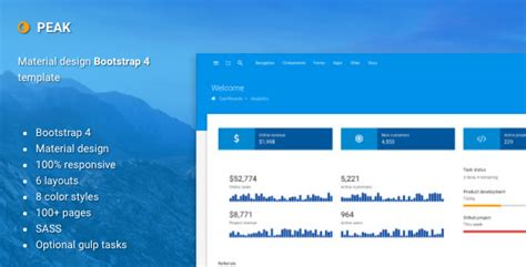 Peak Material Design Bootstrap 4 Admin Template By Batchthemes Themeforest Material Design Website Template