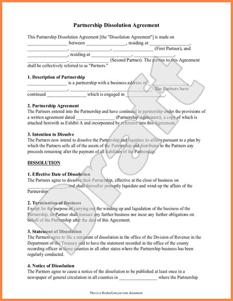 partnership dissolution agreement template 7 partnership dissolution agreement template purchase