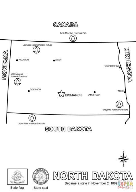map of north dakota coloring page free printable
