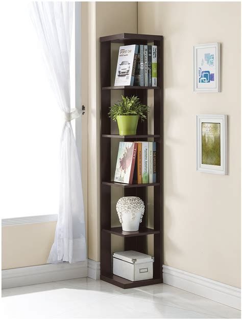 corner bookcase review cappuccino finish 5 tier