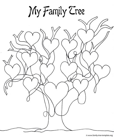 printable family tree stencil printable tree template coloring home