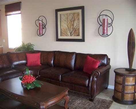 brown and red living room traditional brown leather sofa with red pillows unique