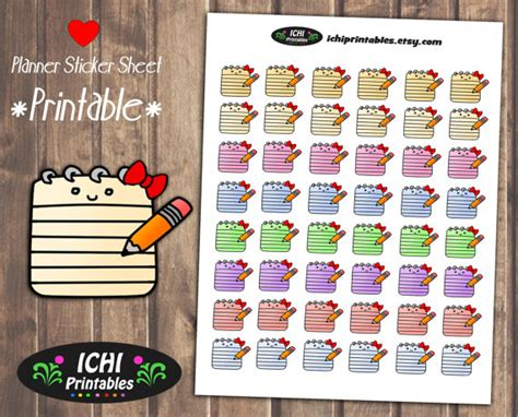 printable notebook stickers notepad printable stickers notebook notepad planner