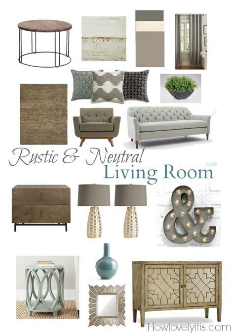 modern bloom rustic neutral living room mood board