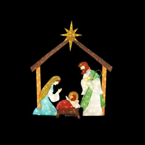 home accents holiday   led lighted tinsel nativity