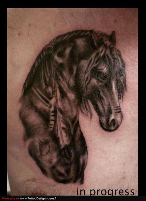 grey ink horse head tattoo image tattooshunt com