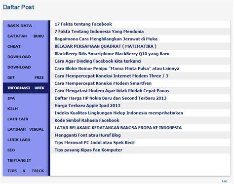 menu untuk membuat daftar isi otomatis cara membuat daftar isi blog dengan menu keren