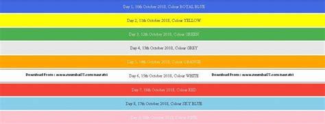 navratri colors navratri colours 2018 9 colours to follow in maharashtra