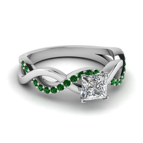 princess cut infinity promise ring with emerald in