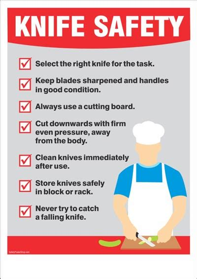 safety kitchen knives industrial safety posters safety poster shop