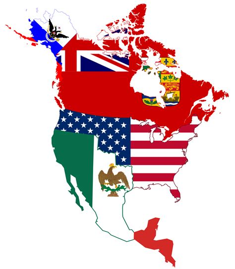 north america map with flags file north american historic flag map png wikimedia commons